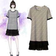 【大きいサイズXL-5XL】ファッションワンピース♪ブラック/ベージュ2色展開◆