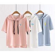 レディース新作Tシャツ パーカー 半袖トップス 刺繍 カジュアル ブルー/ホワイト/ピンク3色