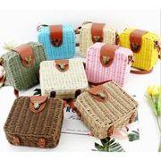 四角型 ショルダー★カゴバッグ★レディース 鞄 編み上げバッグ