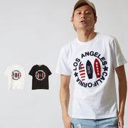【2019春夏新作】メンズ サークルロゴ さがら刺繍 サーフボード ワッペン 半袖 Tシャツ