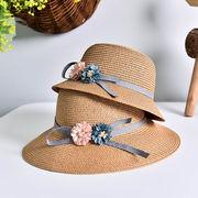 草編み帽子 親子帽子 サンバイザー 麦わら帽子 ビーチハット UV対策 日焼け止め フラワーハット