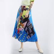 ロングスカートお洒落 プリーツ花柄高質 ダンス 春 夏  通勤 オフィス 新作   エレガント