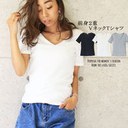 TOPS 前身2重Vネック半袖Tシャツ トップス 透けにくい ぴったりフィット 伸縮性 ストレッチ