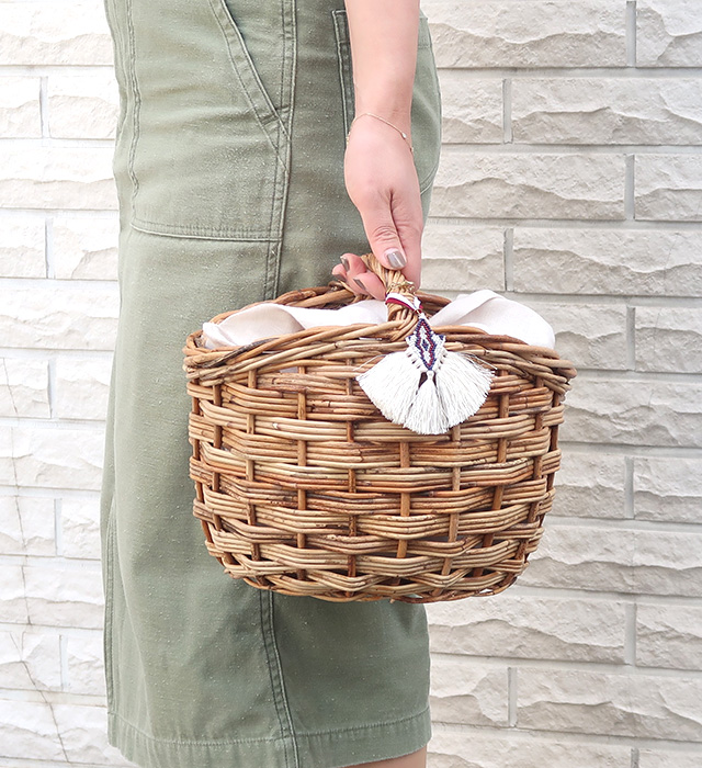 【KAGOBAG】アラログラウンドシェイプバスケット [*ナチュラル雑貨*]