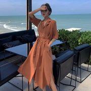 第1 番 ピープル ホーム 女性服 ルース 着やせ 気質 オレンジ スーツ 襟 サイド