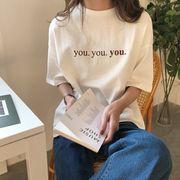 韓国風 夏 新しいデザイン 風 ルース 何でも似合う 着やせ レターズ プリント 丸襟