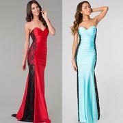 【即納】 ★ ロングドレス ★ ベアトップ ★ サイドレース ★ イブニングドレス 全2色 4356