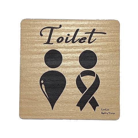 トイレ サインプレート ヤシの木Ver. TOILET 木目調アクリルプレート  toilet-sign