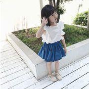 格安!キッズ★インスタ映え子供服★シャツ+ドット柄スカート 2点セット★フリルブラウス7-15選択可