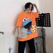 春夏新商品730792  大きいサイズ 韓国 レディース ファッション Tシャツ ワンピース  LL-4L