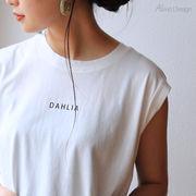 【B-4】DAHLIA ロゴ プリント ノースリーブ Tシャツ