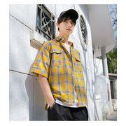 【即納】★マドラスチェックシャツ★2色 ネイビー イエロー 大きいサイズ ストリート