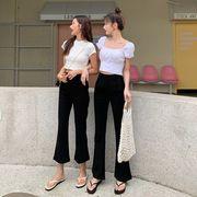 夏 新しいデザイン ハイウエスト 着やせ マイクロベルボトム カジュアルパンツ 女 韓国
