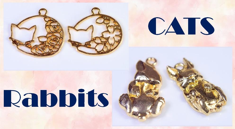 【売り尽くしセール】アンティークパーツ 猫チャーム 猫雑貨 うさぎチャーム 動物レジンフレーム