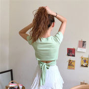 包帯 リボン シャツ 女 夏 新しいデザイン セクシー ハイウエスト 短いスタイル 背中
