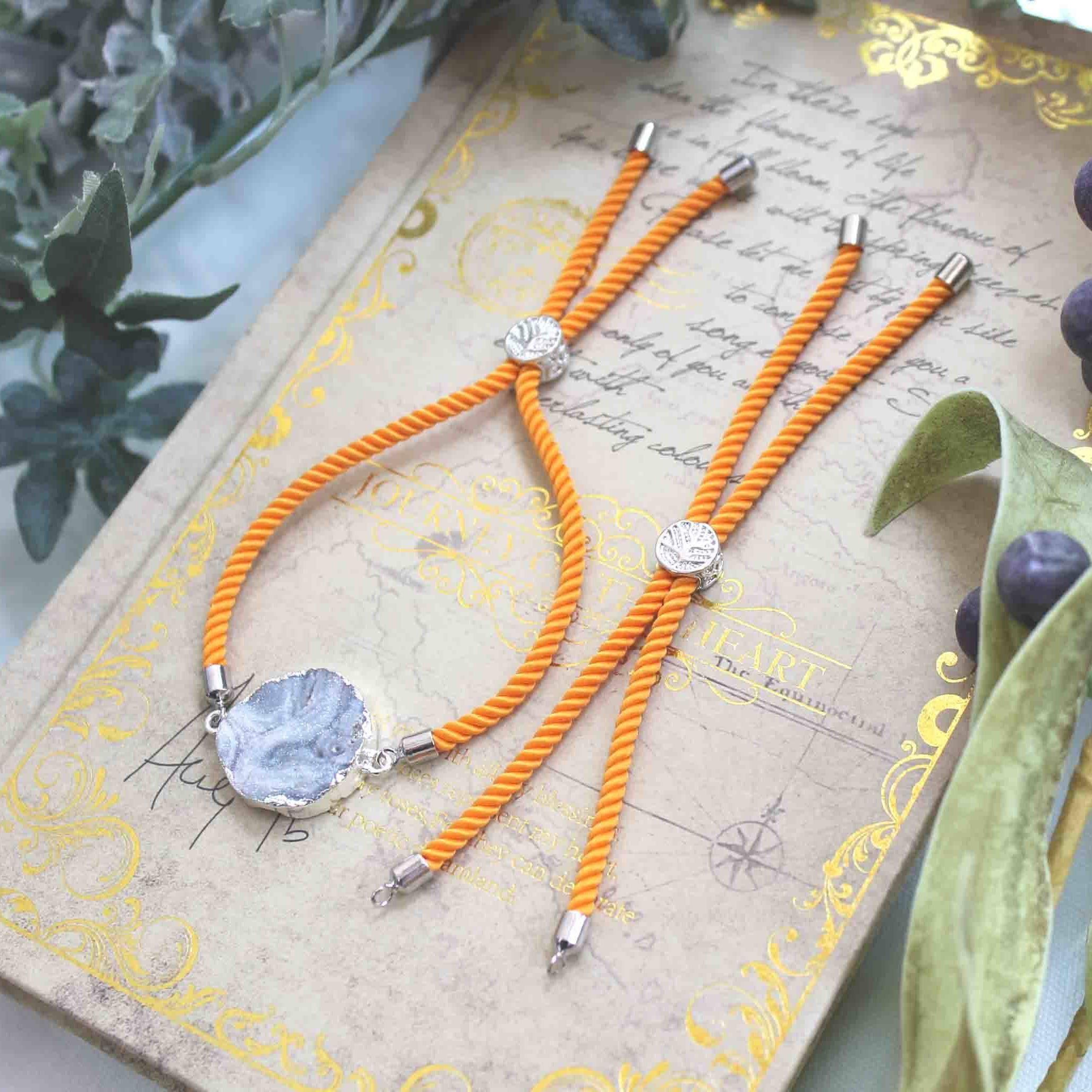 パーツ コードブレスレット SVオレンジ #24 ハンドメイド 素材 簡単 製作 ヒモ コネクト 全30色