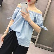 ☆2019 春夏★最強の新作★韓国ファッション可愛いカジュアル 半袖デニム Tシャツ デニムブラウス