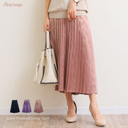 【W-2】【SALE】サテン プリーツ ロング スカート【通年】