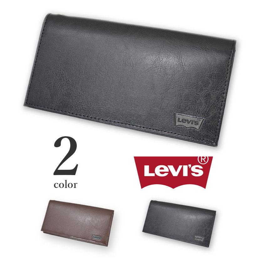 【全2色】 Levi's リーバイス ロングウォレット 二つ折り 長財布 リアルレザー メンズ レディース 男女兼用