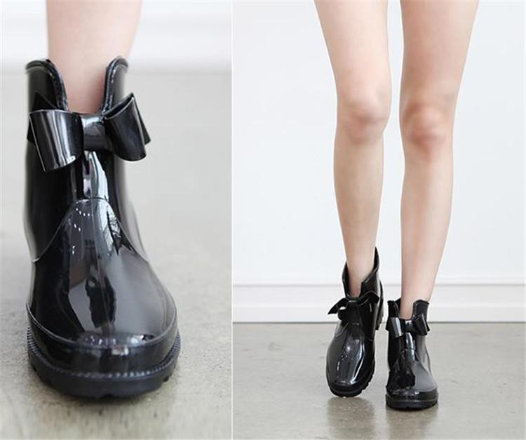 信じられない驚きの大特価   可愛い 蝶結び 滑り止めの靴 短い筒 水靴 防水 レインシューズ
