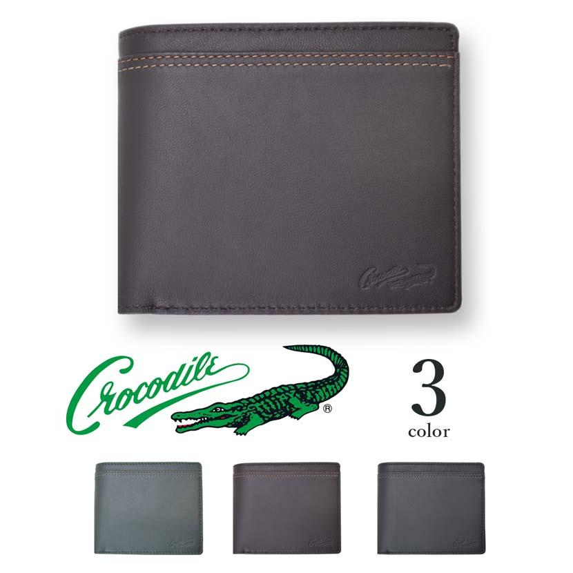 【全3色】 CROCODILE クロコダイル ウォレット 二つ折り 財布 リアルレザー