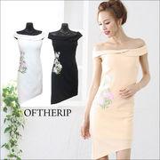 フラワー刺繍アシンメトリ―ドレス