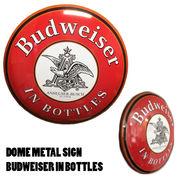 ドームメタルサイン  BUDWEISER IN BOTTLES