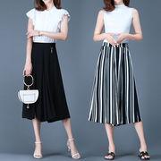 大きいサイズ 裾スリットのワイドパンツ 夏 ストライプ、黒無地 ガウチョパンツ 7分丈 ゆる M-5L 25379