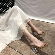 💗2019年夏  新しい  スーパーハイヒール  靴  クリスタル  厚手  サンダル