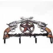 ワイルドガンマンフック リボルバー 2丁拳銃 スター レリーフオブジェ ■ 壁掛け ウエスタン