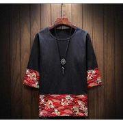 メンズ新作Tシャツ カットソー トップス カジュアル ブラック/グレー2色