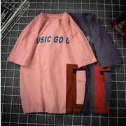 メンズ新作トップス カットソー 半袖Tシャツ ゆったり ピンク/グレー2色
