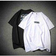 メンズ新作Tシャツ カットソー トップス カジュアル ホワイト/ブラック2色