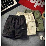 メンズ新作半ズボン ジョガーパンツ チノパン ハーフパンツ カジュアル ブラック/ベージュ/カーキ3色