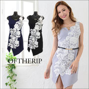 フラワーレース裾カットドレス