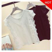 韓国ファッション 袖なしシフォンレース ブラウス 夏2色