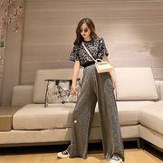 韓国ファッション可愛 レディーズ 合わせやすい ハイウェスト パンツ ジーンズ パンツ