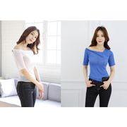 韓国直送 韓国コスメ  半袖Tシャツ 斜めショルダー シングルショルダー 不規則裾 個性 セクシー