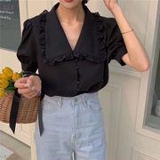 夏も使える♪♪2019 夏★韓国ファッション可愛 気質OL スタイル 無地 半袖 ブラウス シャツ