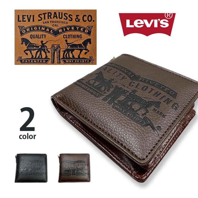 【全2色】 Levis リーバイス ラベルパッチデザイン型押し エコレザー 二つ折り 財布
