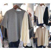 満足度99% 全4色 半袖Tシャツ フリル 切り替え バイカラー アシンメトリー シンプル カジュアル