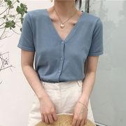 新しいデザイン ハン 風 気質 襟 半袖 何でも似合う レジャー 女 春夏季 単一色 シ