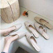 新作サンダル シンプル 編み風 リボン ビンテージ フラット 靴 オシャレ 韓国ファッション