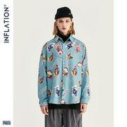 ファッション 新作 開襟 カジュアル サメ メンズ シャツ 全袖 アメカジアロハシャツ 上着 人気