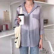 韓国風 夏 新しいデザイン 長袖 透かし 薄いスタイル シャツ ルース 何でも似合う シ