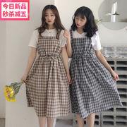 夏 新しいデザイン 韓国風 女性服 復古格子 ウエストマーク 着やせ 若いもの ロングド