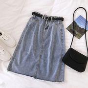 バリ デニム スカート(中位の長さ) 女 夏 新しいデザイン 韓国風 ファッション 後ス