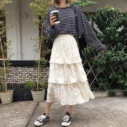 スカート 女 夏 韓国風 新しいデザイン 折り畳む ハイウエスト 言葉 スカート ルース