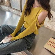 新しいデザイン 秋服 韓国風 アイスシルク ニット 女 薄いスタイル 肩なし 長袖 日焼