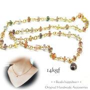 【日本製・完成品】14kgfのマルチカラー宝石質スピネルネックレス